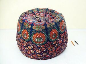 Handmade Quilted Cotton Floral Bohemian Hippie Bean Bag Gypsy Ottoman Pouf