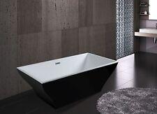 "67"" Freestanding Black Acrylic Spa Bath Tub"