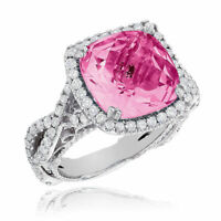 1.48CT NATURAL ROUND DIAMOND RUBY GEMSTONE 14K SOLID WHITE GOLD COCKTAIL RING
