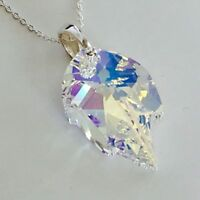 Swarovski Elements 925 Sterling Silver Crystal Necklace Pendant Jewellery Leaf