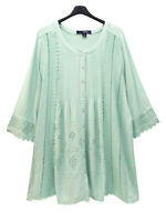 Denim 24/7 ladies tunic blouse shirt top plus size 18 - 34 dusky green lace