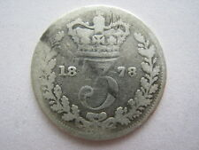 1878 Young Head silver Threepence, Poor.#1