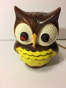 Ceramic Owl Light Vintage Collectible Glowing Eyes Brown Yellow Retro Mid Centur