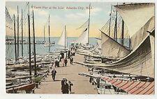 VINTAGE POSTCARD YACHT PIER INLET SAILBOATS SHIPS ATLANTIC CITY NEW JERSEY NJ