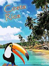 Costa Rica Rainforest Toucan Bird Central America Travel Poster Advertisement