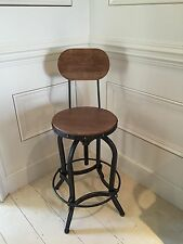 Bar stool with Back Rest, adjustable height, metal & solid wood