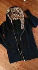 Juniors Long Black Zippered Hoodie, Sz Large, Leopard Print Hood, Long Cuffs