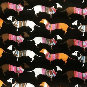 NEW! PolyCotton Black Brown Sausage Dachshund Dogs Animal Print Pet Material