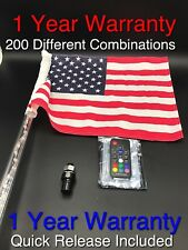 G2 5ft 20 Color Remote Controlled LED Lighted Whip w/ American Flag RZR CanAm X3