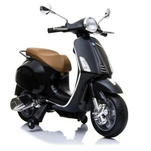 12V Kids Ride On Scooter Vespa Motorbike Electronic Toy - Black- Pre Order ETA 2