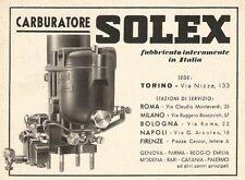 W2866 Carburatore SOLEX fabbricato in Italia - Pubblicità del 1939 - Old advert