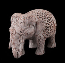 STATUE ELEPHANT- SCULPTURE EN PIERRE  INDE-STONE ELEPHANT CARVING-4979
