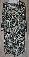 QVC EFFORTLESS STYLE BY CITIKNITS PRETTY ANIMAL PRINT SLINKY DRESS 3/4 SLEEVE XL