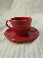 Contemporary Fiesta Ware Teacup Cup And Saucer Set RED SCARLET Fiestaware