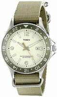 """Timex T2P035 Men's """"Ameritus Sport"""" Silver-Tone Watch with Green Nylon Band"""