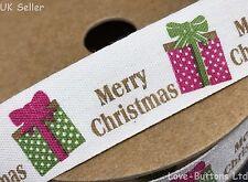 MERRY CHRISTMAS 20mm CREAM COTTON RIBBON TAPE 10M FULL ROLL RUSTIC SHABBY CHIC