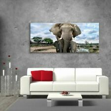 Glass Picture Toughened Wall Art Unique Modern  Elephants Africa Gift  Any Size