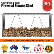 Firewood Storage Shed Log Holder Outdoor Garden Shelter Galvanised Steel Grey AU
