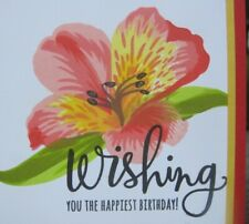 Birthday Handmade Greeting Card, elegant, flower, yellow pink, Lily