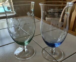 2 Lenox Butterfly Meadow Etched Iced Tea Glasses Green & Blue 18 OZ