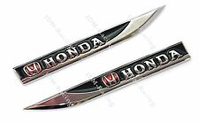 2PCS HONDA Car Trunk Side Wing Fender Metal Emblem Badge Sticker Decal BLACK NEW