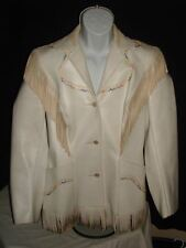 Pioneer Wear Women's Jacket Coat Navajo White Leather Fringe and Beads Sz. S/M