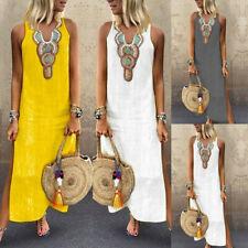 Women Print Linen Sleeveless V-neck Maxi Dress Split Hem Baggy Kaftan Long Dress