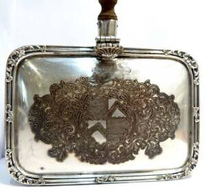 ANTIQUE SILVER PLATED SILENT BUTLER  CRUMB CATCHER BOX TRAY LION DETAIL FLIP LID