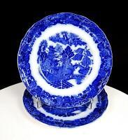 "KEELING & CO PORCELAIN FLOW BLUE BROSELEY PATTERN 2 PC 6 3/4"" SIDE PLATES 1880'S"