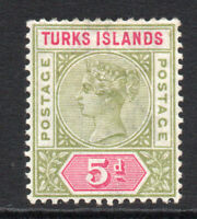 Turks & Caicos Islands 5d Stamp c1893-95 Mounted Mint (2656)