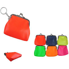 6pcs Pu Leather Solid Multi Colors Coin Purse with Key Chain Case Bag Purse Lot