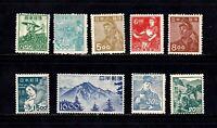 Japan stamps #425 - 434, short set, missing a couple, MNHOG & MHOG, SCV $194.50