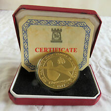 CONCORDE 1977 LONDON - BARBADOS HM GOLD ON SILVER PROOF CROWNMEDAL - boxed/coa