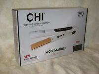 """CHI 'Mod Marble' 1"""" Ceramic Hairstyling Flat Iron with Thermal Fashion Clutch."""