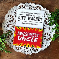 """DECO MAGNET 2""""x3"""" AWESOMEST UNCLE Fridge Magnet relatives family names USA"""