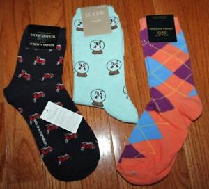 3 Pair New NWT J. Crew Brooks Brothers Banana Republic Womens Trouser Socks *N8