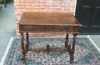 Antique Oak Wood Carved Renaissance 1 Drawer Desk / Table