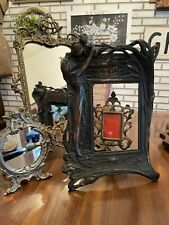 Art Nouveau Lady Cast Metal Bronze Easel Frame Iron Vanity Lily Picture Mirror