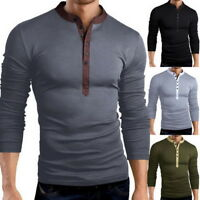 Mens Long Sleeve T-shirt Fitness Casual Button Neck T-Shirts Slim Tops LOVE