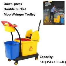 Hotel Commercial 35L+15L+4L Double Mop Bucket Down-press Wringer Trolley Cart