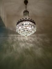 Vintage Brass and Crystal Old Basket Chandelier