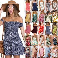 Summer Women Holiday Short Mini Dress Floral Print Ruffle Party Beach Sundress