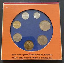 1989 Czechoslovakia 7 Coin Mint Set in Folder Praha Koruna Haleru Uncirculated