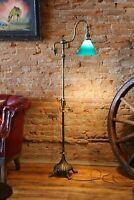 Antique Arts Crafts Mission Floor Lamp Bankers Lamp green glass shade gooseneck