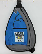 Z100 Justin Bieber promotional sling backpack blue and gray single strap