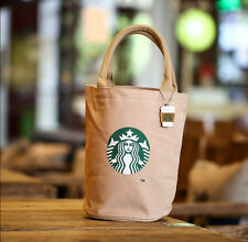 Brown Starbucks Canvas Tote Bag Handbag Barrel Shape Shoulder Shopping Lunch Bag