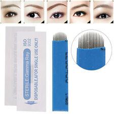100Pcs Microblading Permanent 3D Makeup Eyebrow Tattoo Needle Pin Kit 18U