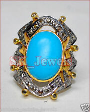 Victorian Look Silver Cocktail Ring 2.12cts Rose Cut Diamond Turquoise Antique