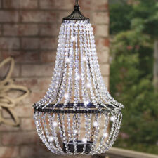 Acrylic Crystals & Metal LED Battery-Operated Chandelier with Remote