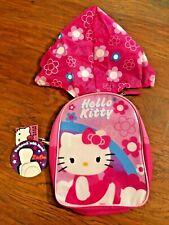 """HELLO KITTY Girls Mini Backpack Toddler Book Bag 10"""" Kids Children Bag w/ Hood"""